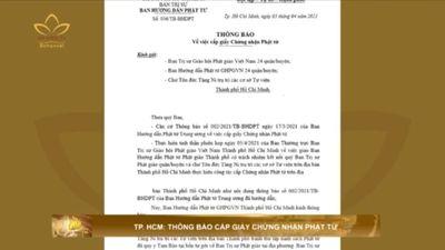 TP.HCM: Thông Báo Cấp Giấy Chứng Nhận Phật Tử